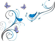 Floral design with birds. Illustration of blue birds and butterflies on colorful waves Stock Photography