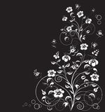 The vector background with decorative flowers. Vector illustration. Floral design on black. Vector illustration EPS 10 Vector Illustration