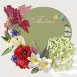 Floral design bouquet on green Royalty Free Stock Images