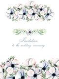Floral design card with watercolor white anemones. Hand drawn on a white background, for Mother`s day, wedding, birthday and other greeting cards d Stock Images