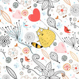 Floral design with a cat. Seamless floral pattern with a cat and birds on a white background Stock Photo