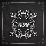 Floral design decorated beautiful Vintage frame. Royalty Free Stock Image