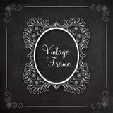 Floral design decorated beautiful Vintage frame. Stock Images