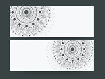 Floral design decorated website header or banner set. Stock Image
