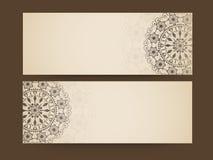 Floral design decorated website header or banner set. Royalty Free Stock Photos