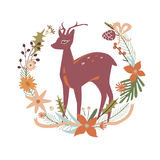 Floral design with deer Royalty Free Stock Photo