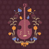 Floral design element with double bass Stock Images