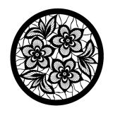 Floral design element. Flowers with imitation lace and embroidery vector illustration