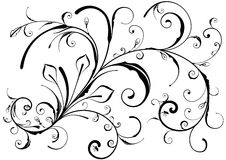 Floral design elements. Vectorized floral ornate black&white design. All elements are separated. Color can be change by one key color vector illustration