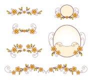 Floral design elements. Set of gold floral design elements Royalty Free Stock Image