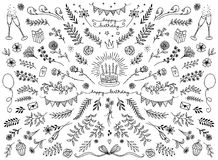 Floral design elements for birthday cards. Hand sketched floral design elements for birthday cards, flowers and leaves for text decoration Royalty Free Stock Images
