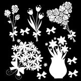 Floral design elements black background Royalty Free Stock Photo