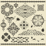 Floral design elements and blots. Vector set of floral design elements and blots Stock Photos