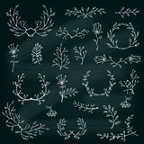 Floral design elements on the chalkboard. Floral Frame Collection. Vector Stock Photo