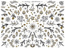 Floral design elements for Christmas, with gold foil Stock Photography