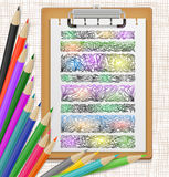 Floral design elements and colored pencils Royalty Free Stock Photography