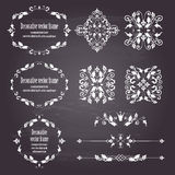 Floral design elements set of objects and frames and dividers in white. Floral design elements set , ornamental vintage objects, frames and dividers in white vector illustration