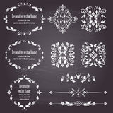 Floral design elements set, ornamental vintage objects. Frames and dividers in white color. Vector editable illustration. Isolated on chalboard background. Use stock illustration