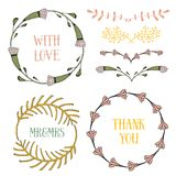 Floral design elements set. Spring frames and borders. Vector decorative elements. Can use for birthday card, wedding Stock Image