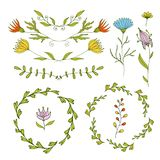 Floral design elements set. Spring frames and borders. Vector decorative elements. Can use for birthday card, wedding invitations, Stock Images