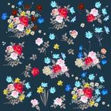 Floral design elements.Various bouquets of gardening flowers. Vector illustration.  vector illustration