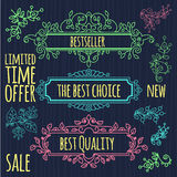 Floral design elements vintage dividers in black Royalty Free Stock Photos