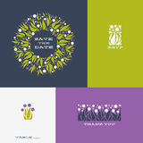 Floral design elements and wreath of Allium. Vector illustration Royalty Free Stock Images