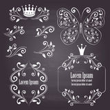 Floral design frames with crowns and butterfly in white color Royalty Free Stock Images