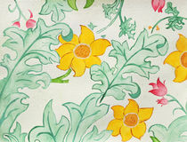 Floral Design. Hand-painted Watercolor in Medieval style Stock Photos