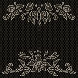 Floral design on lace fabric in black and white, vector frame Stock Image