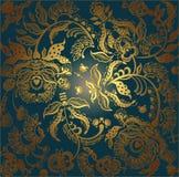 Floral design lace golden on dark Stock Image