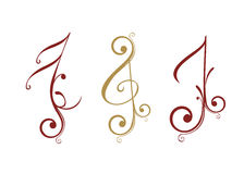 Floral design music note Royalty Free Stock Image