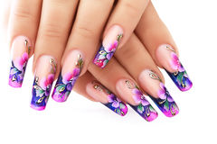 Floral design on  nails. Royalty Free Stock Image