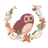 Floral design with owl character Royalty Free Stock Image