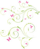 Floral design with pink flowers. Floral designs with pink flowers and butterflies Royalty Free Stock Photos