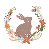 Floral design with rabbit Stock Image