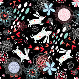 Floral design with rabbits Royalty Free Stock Image