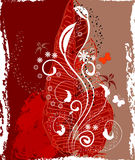 Floral design red and white2 stock illustration