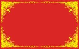 Floral design retro background. Floral design retro red background, computer illustration Royalty Free Stock Photos