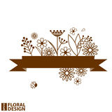 Floral design with ribbon. Vector illustration Stock Photos
