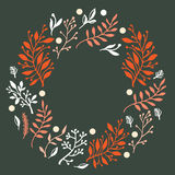 Floral design. Round composition with hand drawn leaves and plants, could be used as greeting card or invitation vector illustration