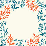 Floral design. Round frame with hand drawn leaves and plants, could be used as greeting card or invitation stock illustration