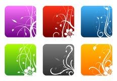 Floral design squares. Set of 6 colored floral design squares Royalty Free Stock Photo