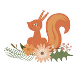 Floral design with squirrel Royalty Free Stock Images