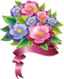 Floral design with violet and ribbon Stock Photos