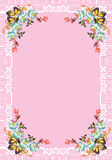 Floral design in white frame on pink Stock Photography