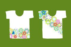 Floral design on white t-shirt Stock Images