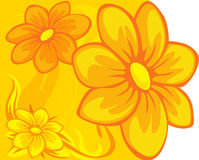 Floral design yellow orange - vector Stock Images