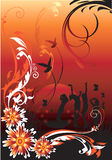 Floral designs,. People dancing in floral designs Stock Photos