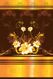 Floral designs. With yellow border Stock Photos